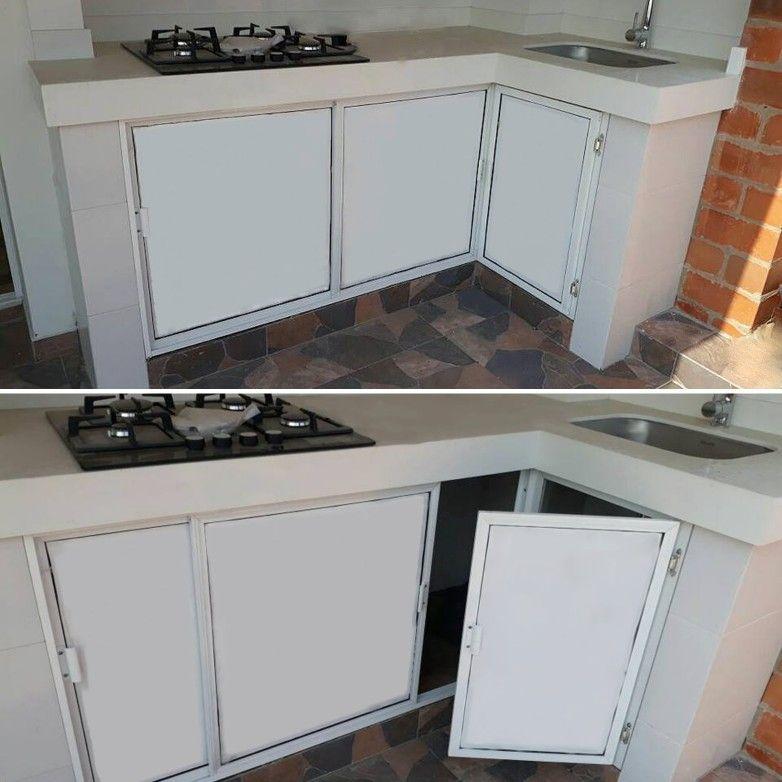 Puertas Batientes Y Corredizas Para Meson De Cocina En Aluminio Y