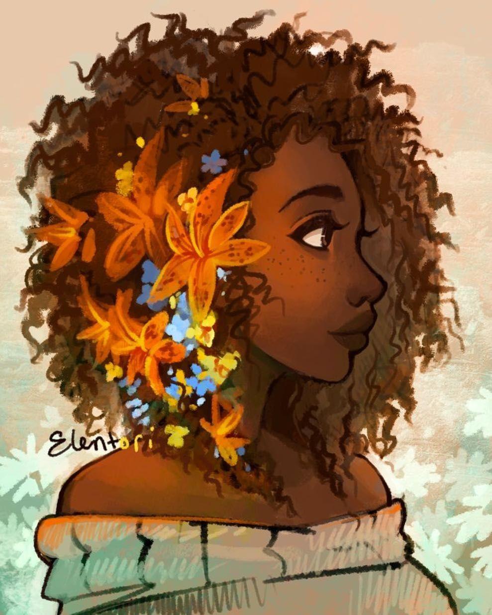 Hair and flowers in Faces u Fotos Pinterest Art Drawings
