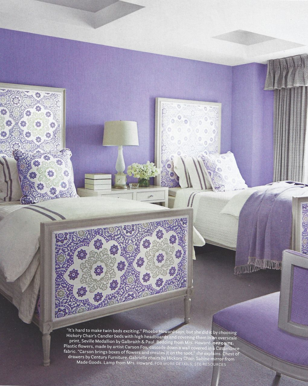 Lilac bedroom featuring galbraith paul seville medallion for Beautiful lilac bedrooms