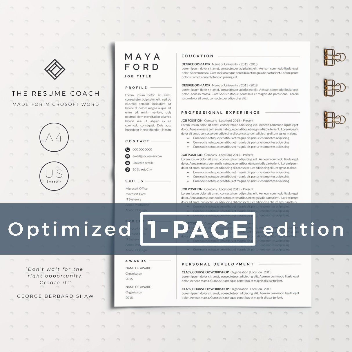 resume template one page resume professional resume modern