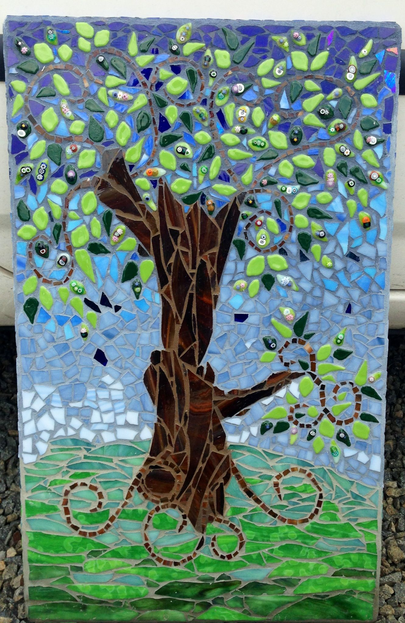 Mosaic Tree With Fused Glass Leaves