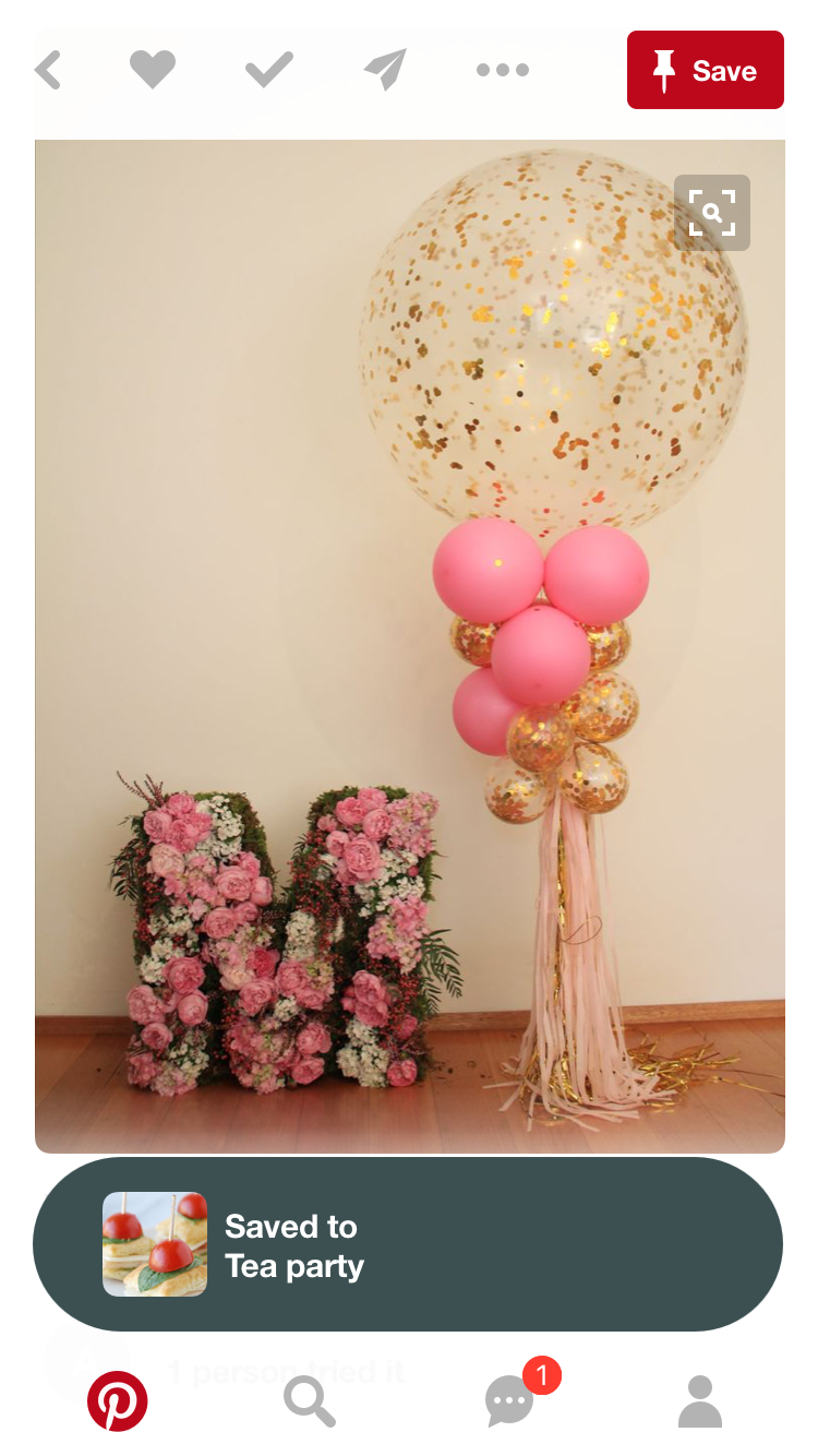 Birthday floral letter balloons pink and goldbut