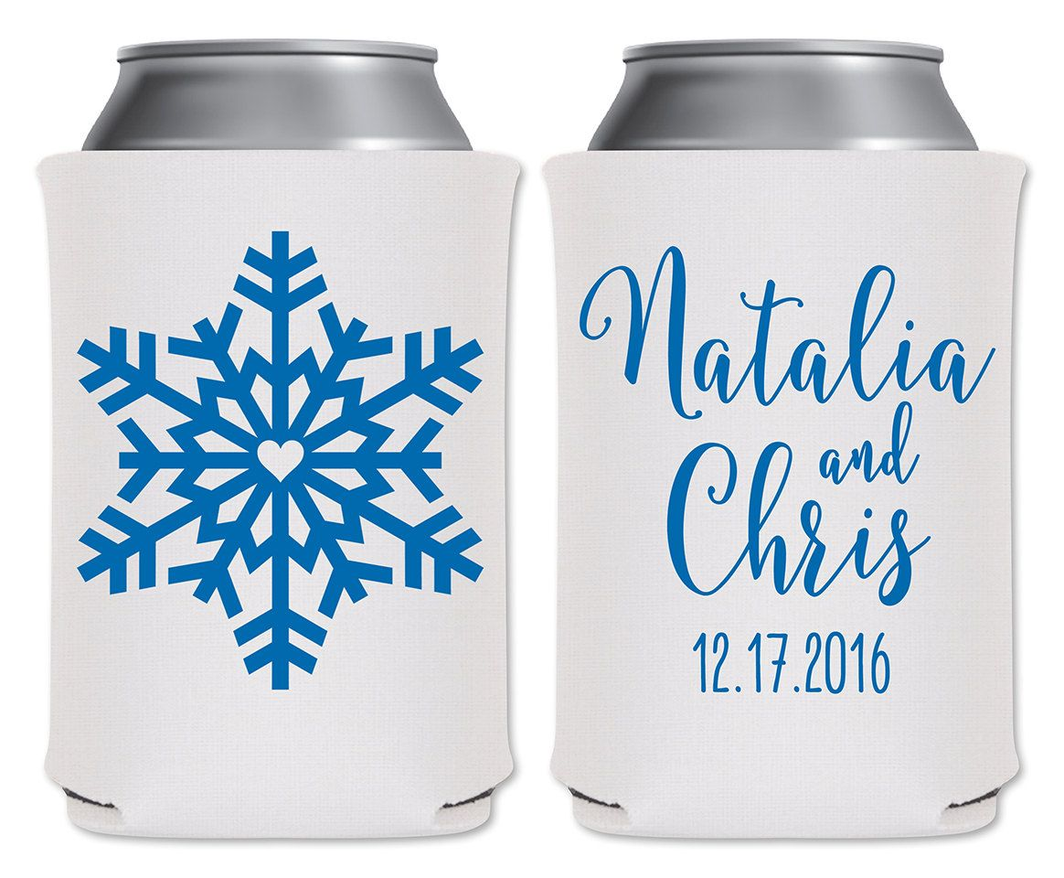 Winter Wedding Can Coolers Insulators Personalized Wedding Favors ...