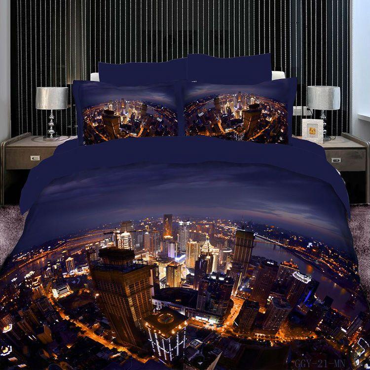 city oil printing luxury 4pc bedding set 3d bedclothes bed linen bedsheet cotton duvetquilt