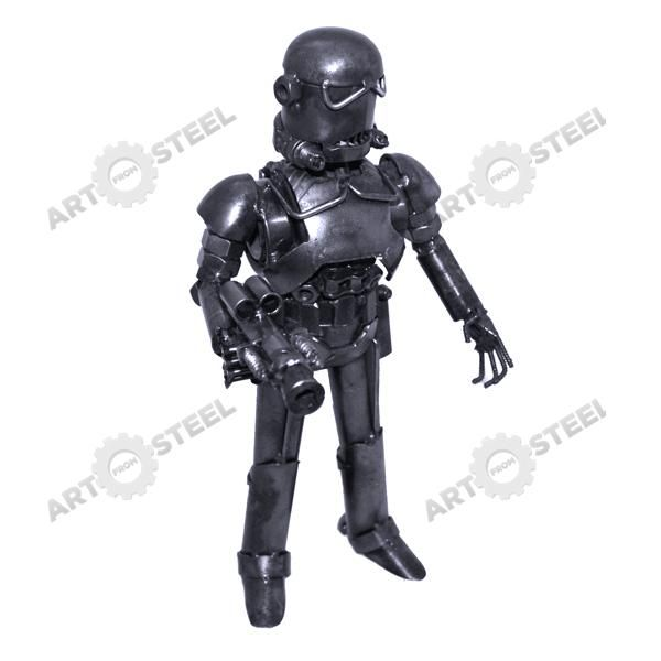 Excellent placement of screw nuts of varying sizes gives this trooper the excellent detail in its upper arms, lower legs, and at the inverted horns of his helmet.  $99.99