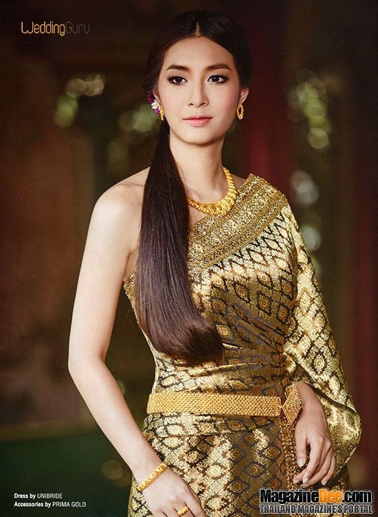 Beautiful golden traditional clothes, Mew Nittha