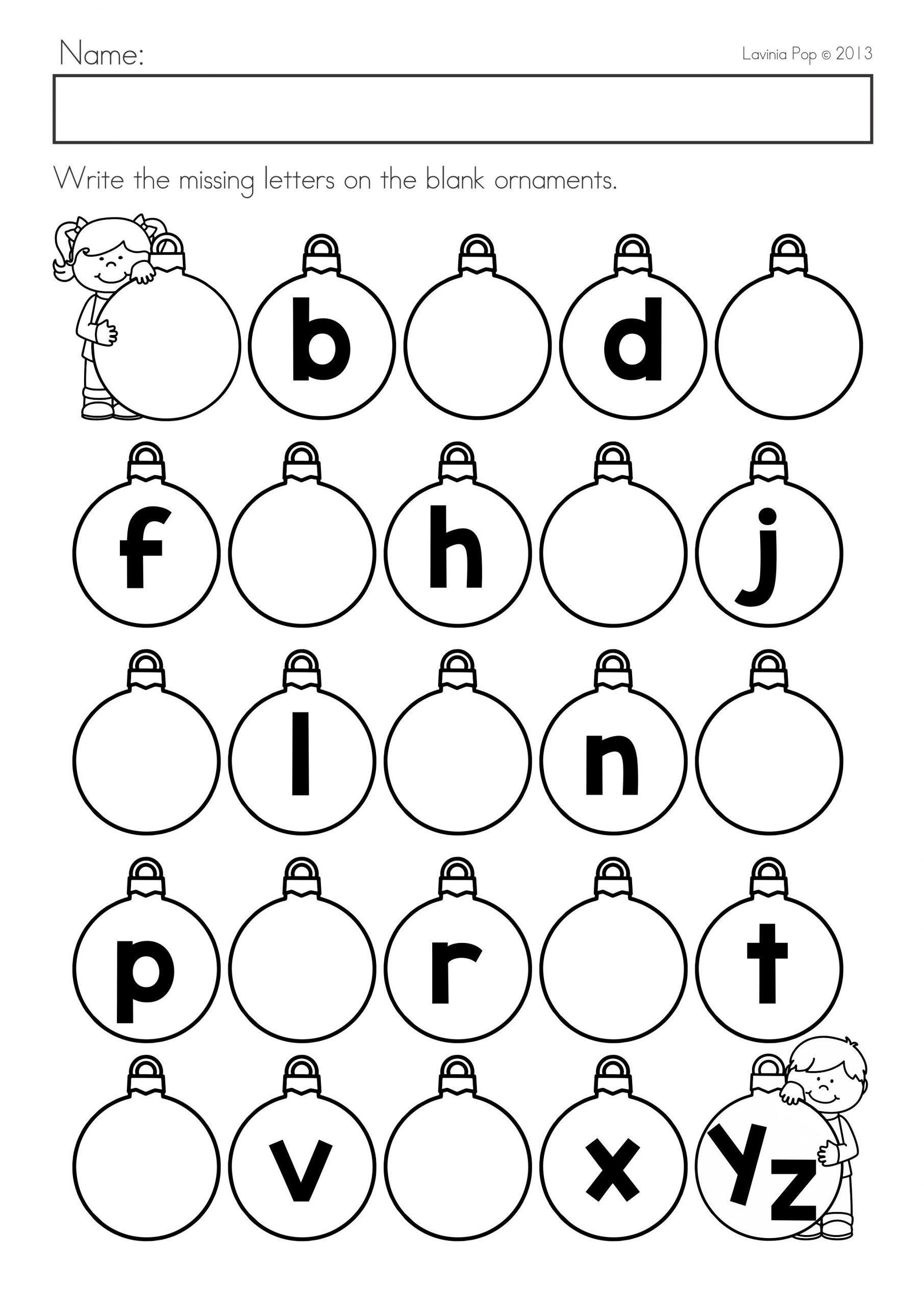 Missing Letters Worksheets For Kindergarten Christmas Math