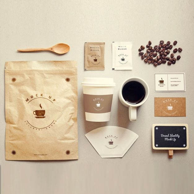 Mock up de papelería de café Psd Gratis
