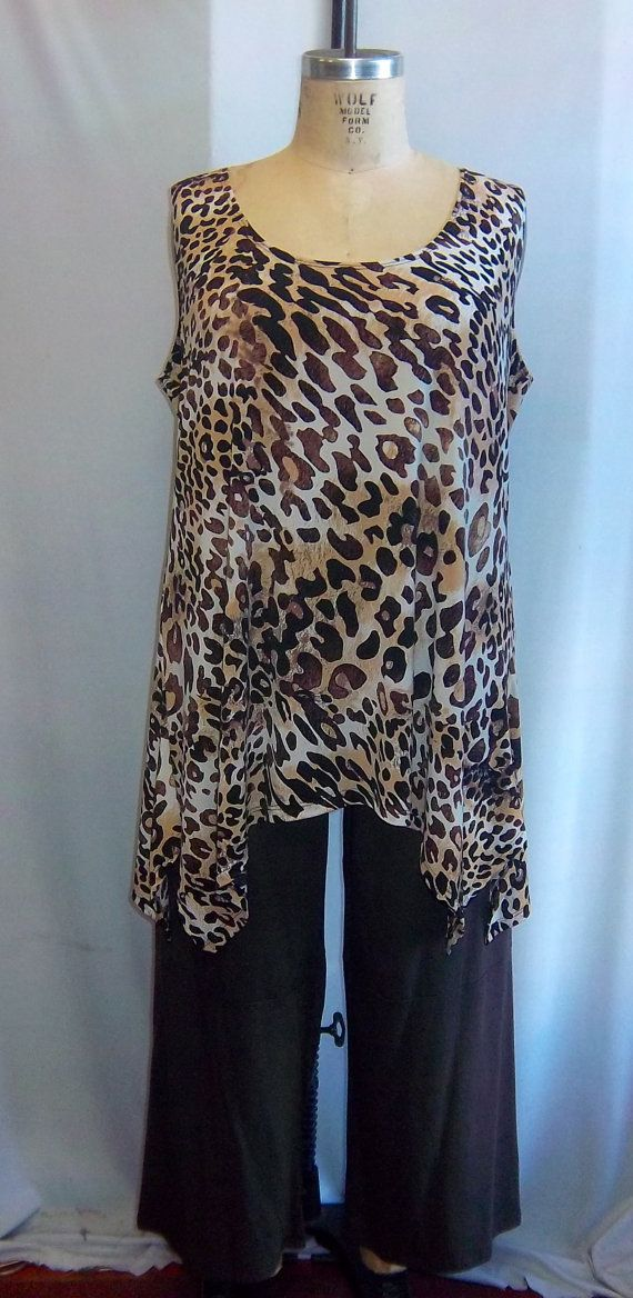 d5e561203907e Coco and Juan Lagenlook Plus Size Leopard Print Traveler Knit Angled ...