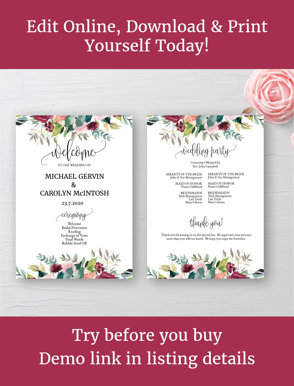 Wedding Program Template Programme Printable Fl Ceremony 5 X7 Diy Edit Online And Print By Createntreasure On