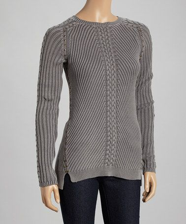 Another great find on #zulily! Zinc Sand-Washed Cable-Knit Boatneck Sweater by Cullen #zulilyfinds