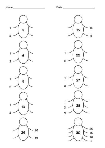 Factor Bugs Factors And Multiples Sixth Grade Math Homeschool Math