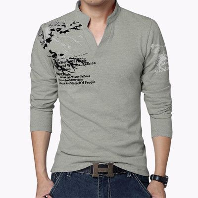 ba34cba73d7 Hot Sale 2017 New Autumn Men s T Shirt Fashion Flower Print V Neck Long  Sleeve T