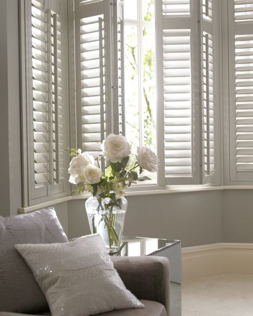 Bay Window Shutters In White By Www Thomas Sanderson Co Uk Getting Shutters For The Office Not More Curtains Home Living Room White Shutters House Interior #valances #for #bay #windows #in #living #room