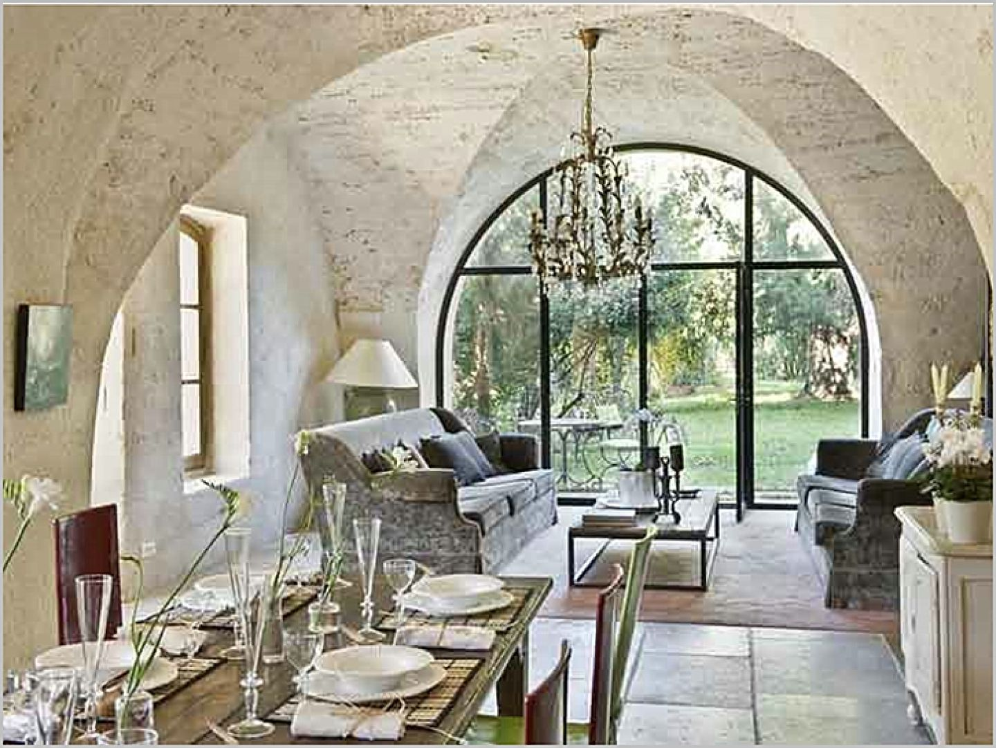 Modern french country dining room - Living Room Dining Home Decorating French European Country Stone Walls Interior Design