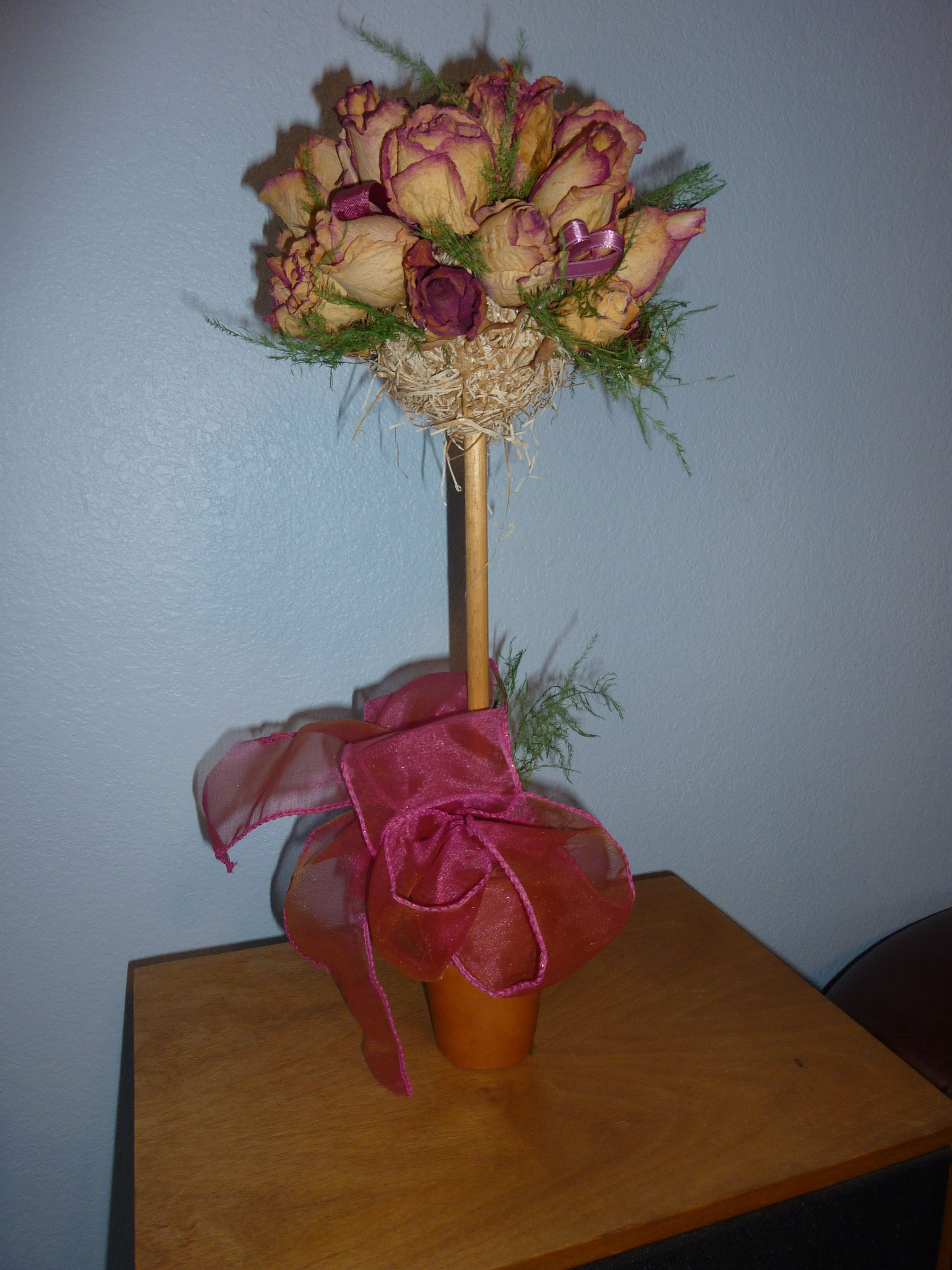 Dried rose topiary