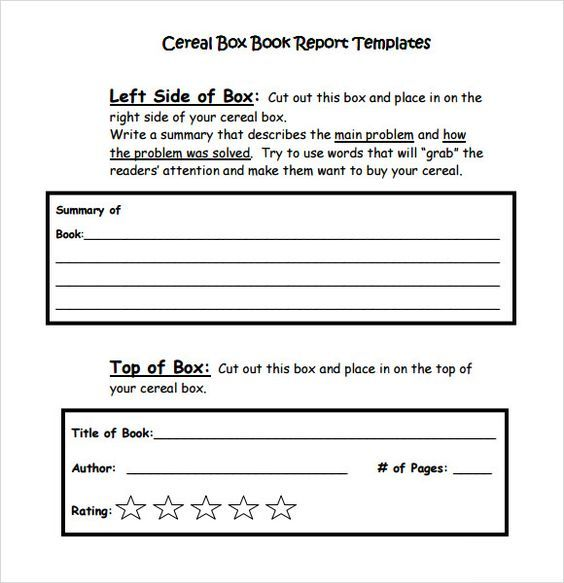 Cereal Box Book Report Template pdf Reading objective - sales call report template