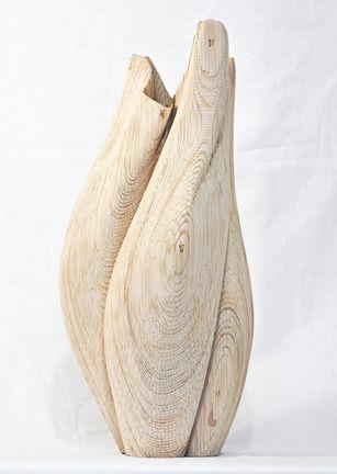 Laser-cut wooden vases