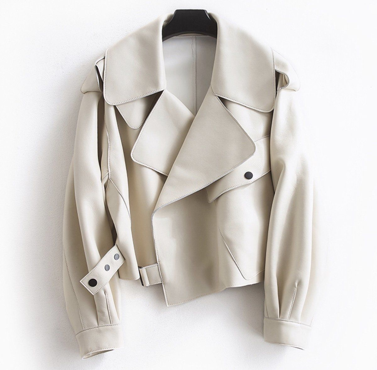 Off White Cropped Faux Leather Jacket in 2020 Leather