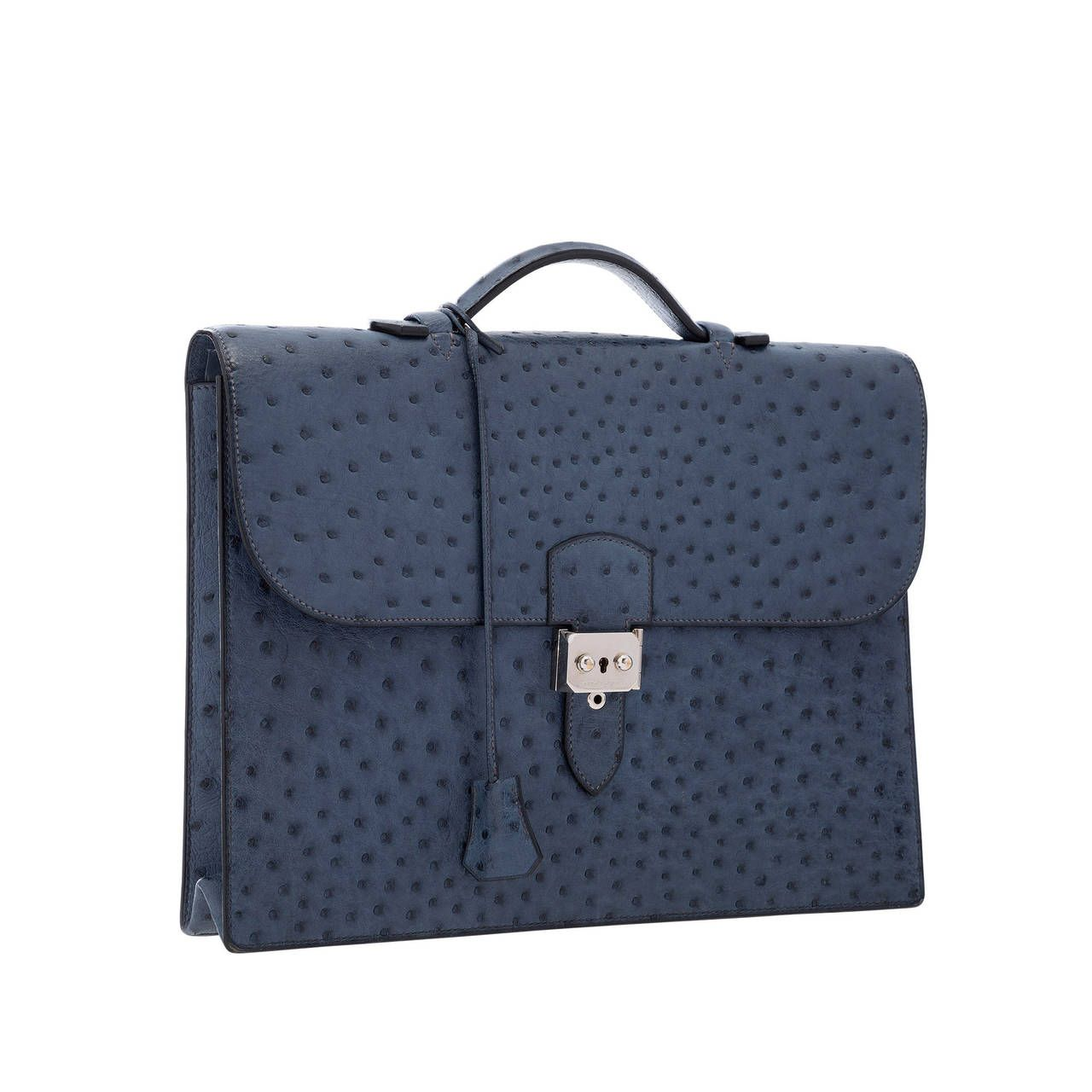 0ad9c6051f5d Hermes Blue Roi Ostrich Sac a Depeches Briefcase Bag with Palladium Hardware