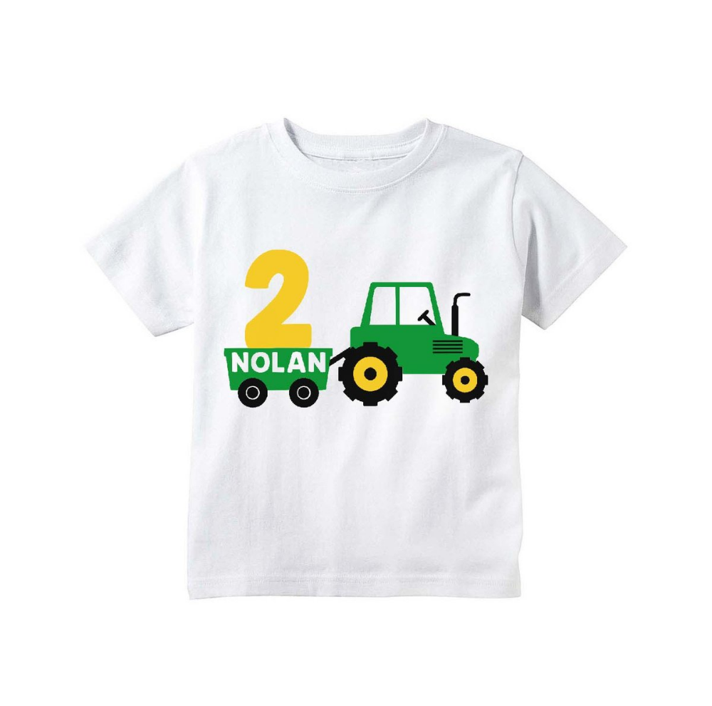 Tractor Birthday Shirt For Toddler Boys Personalized Tractor Farm Barnyard Party Shirt Tractor Birthday Birthday Shirts Boys Birthday Outfits