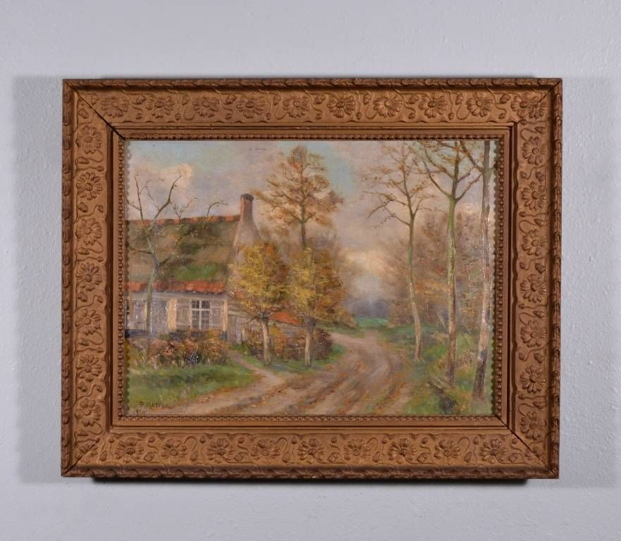 Antique Signed Oil on Canvas Painting Belgian Country Home in Fall