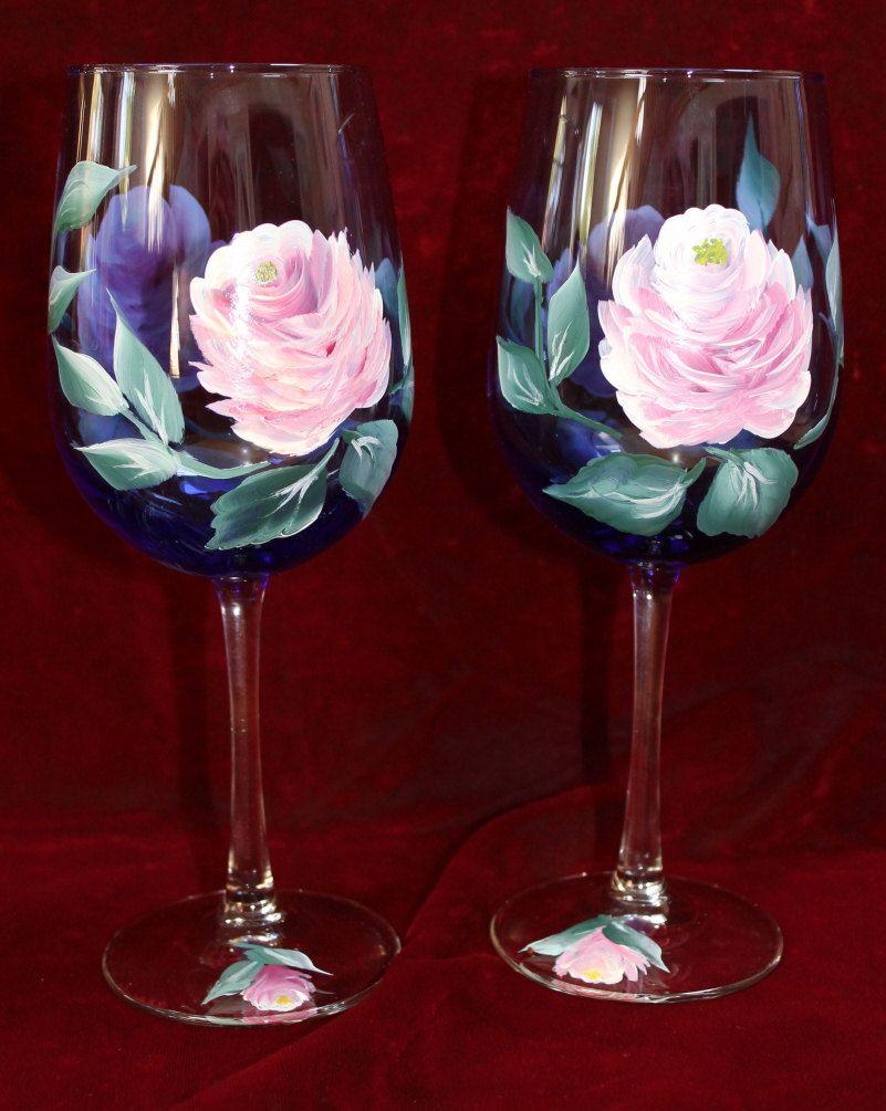 Hand Painted Wine Glasses Vintage Rose On Cobalt Blue Glass Etsy Hand Painted Wine Glasses Painted Wine Glasses Elegant Hand Painted Wine Glasses