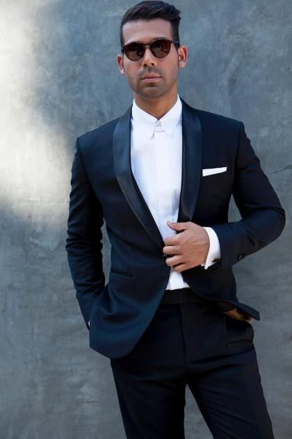 The Editorial Suit: two-tone grey suit with white fly away collar ...