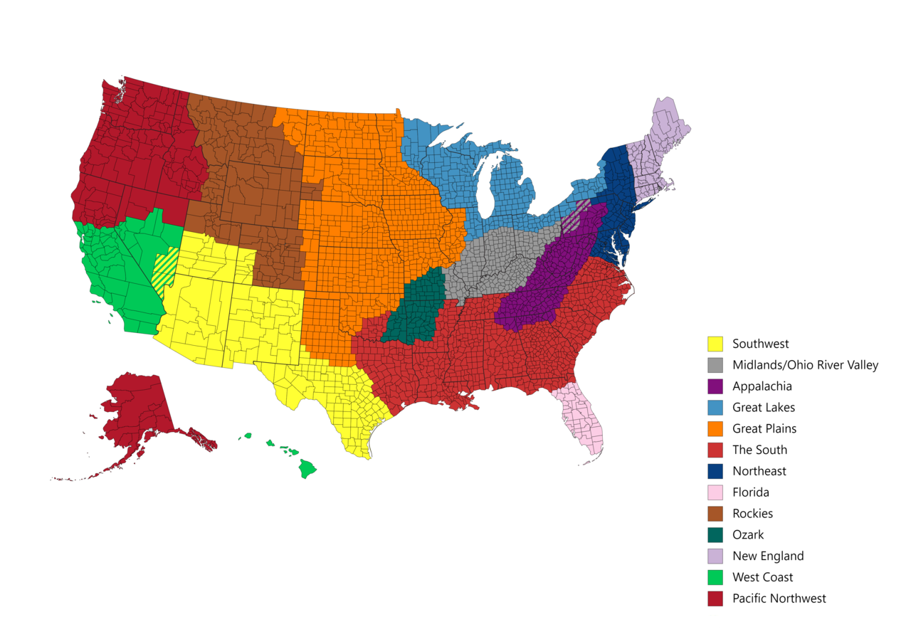 The US broken into 13 cultural regions   Map, Great plains ...