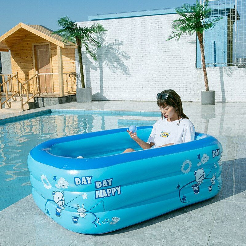 150cm Summer Children Bathing Tub Baby Home Use Paddling Pool Inflatable Square Swimming Pool Kids C Inflatable Swimming Pool Baby Paddling Pool Swimming Pools