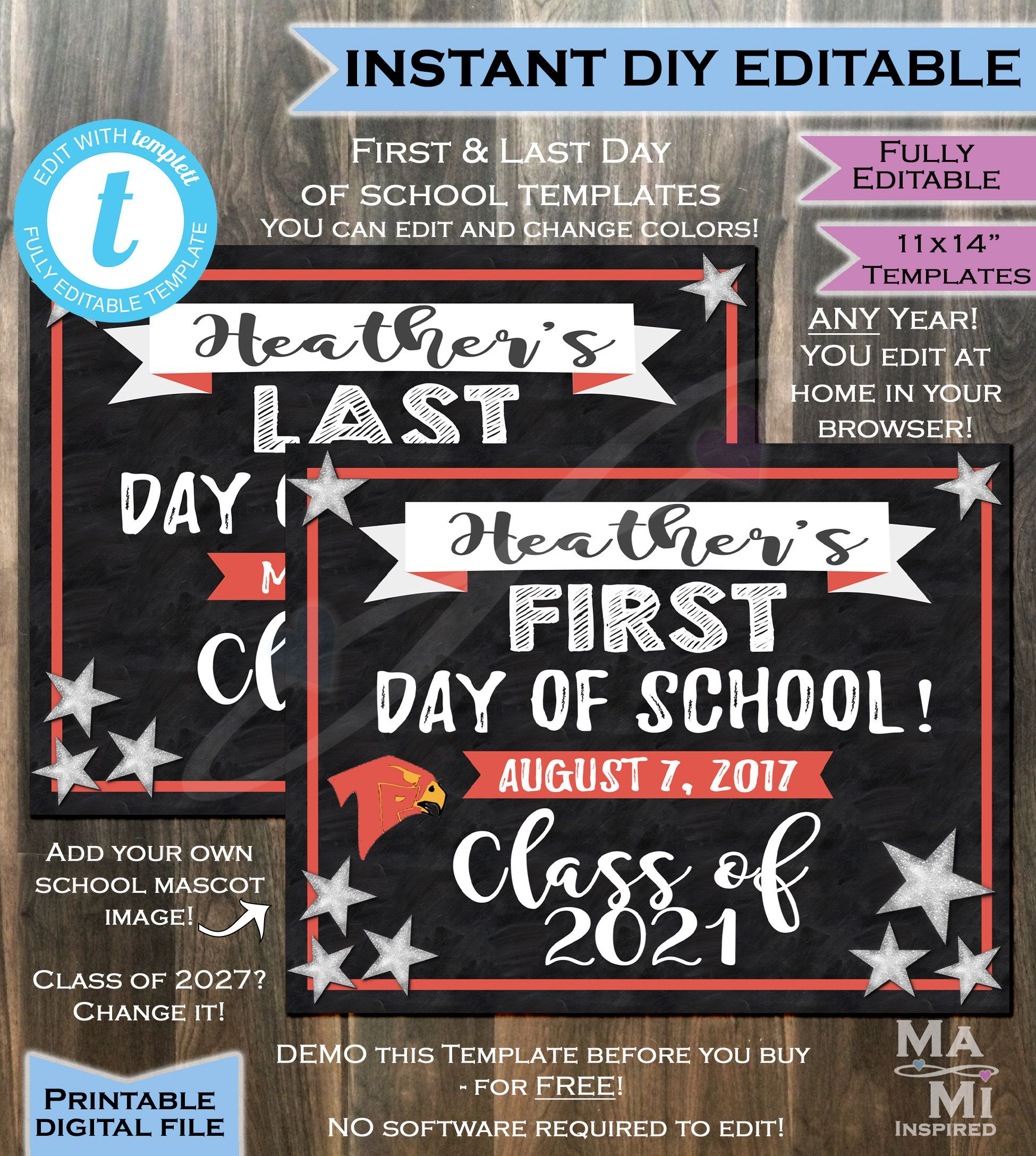 First Day Of School Chalkboard Sign Class Of 2021 Any Color Any