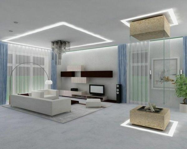Moderne Gestaltung Zimmer In Weiß Sofa Dekoideen