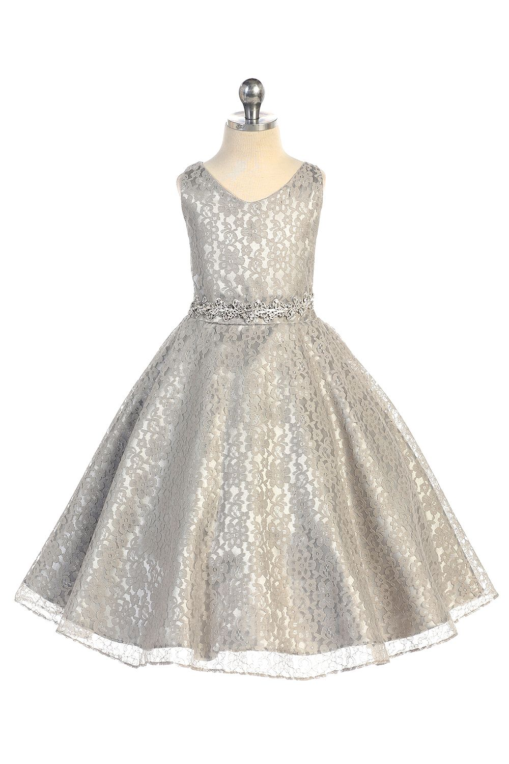 Silver gorgeous tulle lace vneck aline flower girl dress with