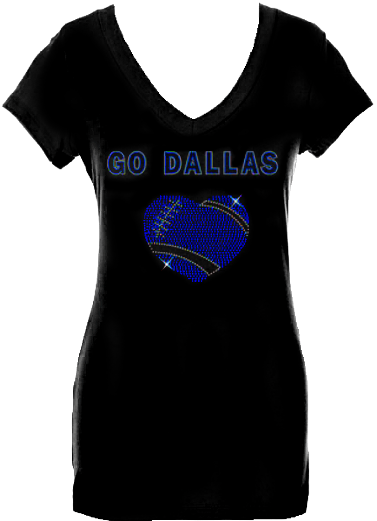Go Dallas Ladies V-neck Rhinestone/stud Shirt – Fan Bling HQ