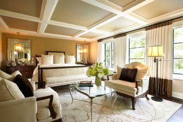 Coffered ceiling, the carpet, the banded drapes, the taupe painted in the ceiling squares.....