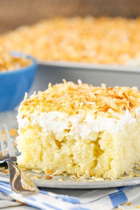 Cannoli Poke Cake Recipe With Images Moist Coconut Cake Recipe Coconut Poke Cakes Coconut Cake Recipe