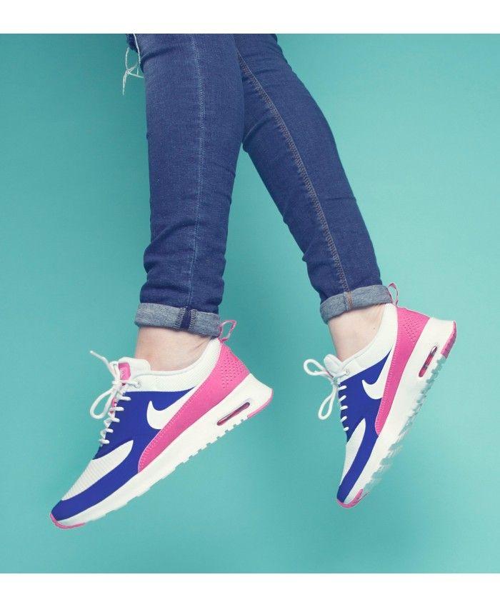Chaussure Nike Air Max Thea Blanche Royal Bleu Rose | Chaussure ...