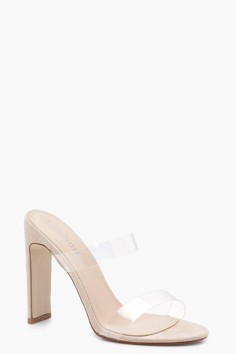 c117af6b67d Double Clear Band Mule Heels | Shoes | Heeled mules, Heels, Clear heels