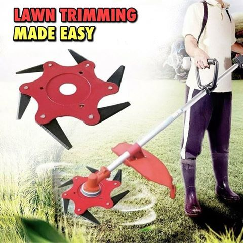 This steel lawn trimmer cuts through grass, weeds, & wood with incredible ease!