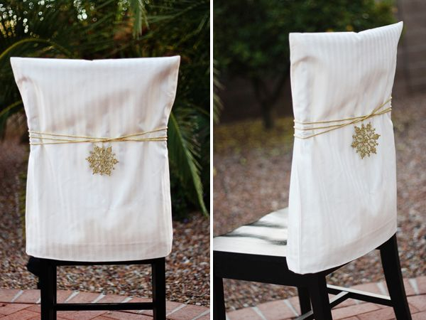 Ridiculously easy Use pillowcases as chair slipcovers Starch the pillowcase