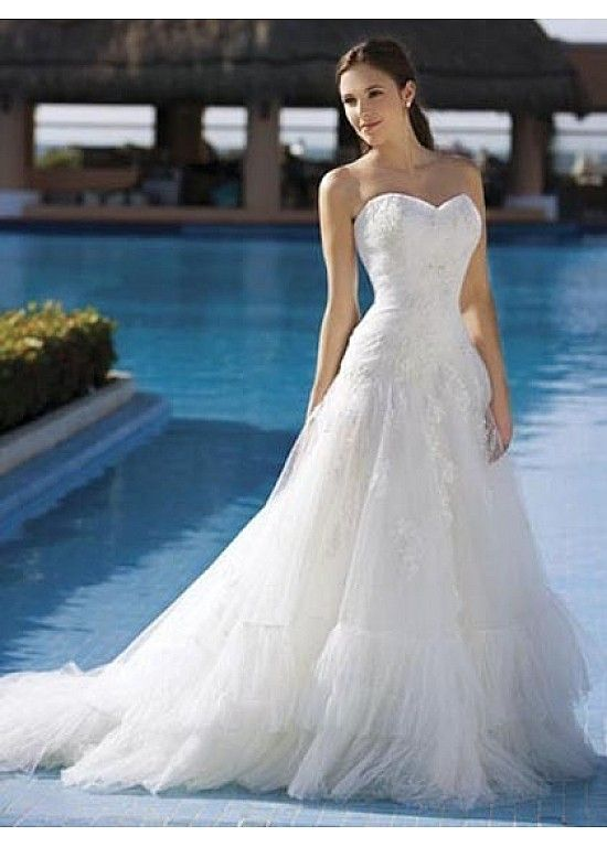 Exquisite Elegant Tulle A-line Sweetheart Wedding Dress In Great Handwork W1825