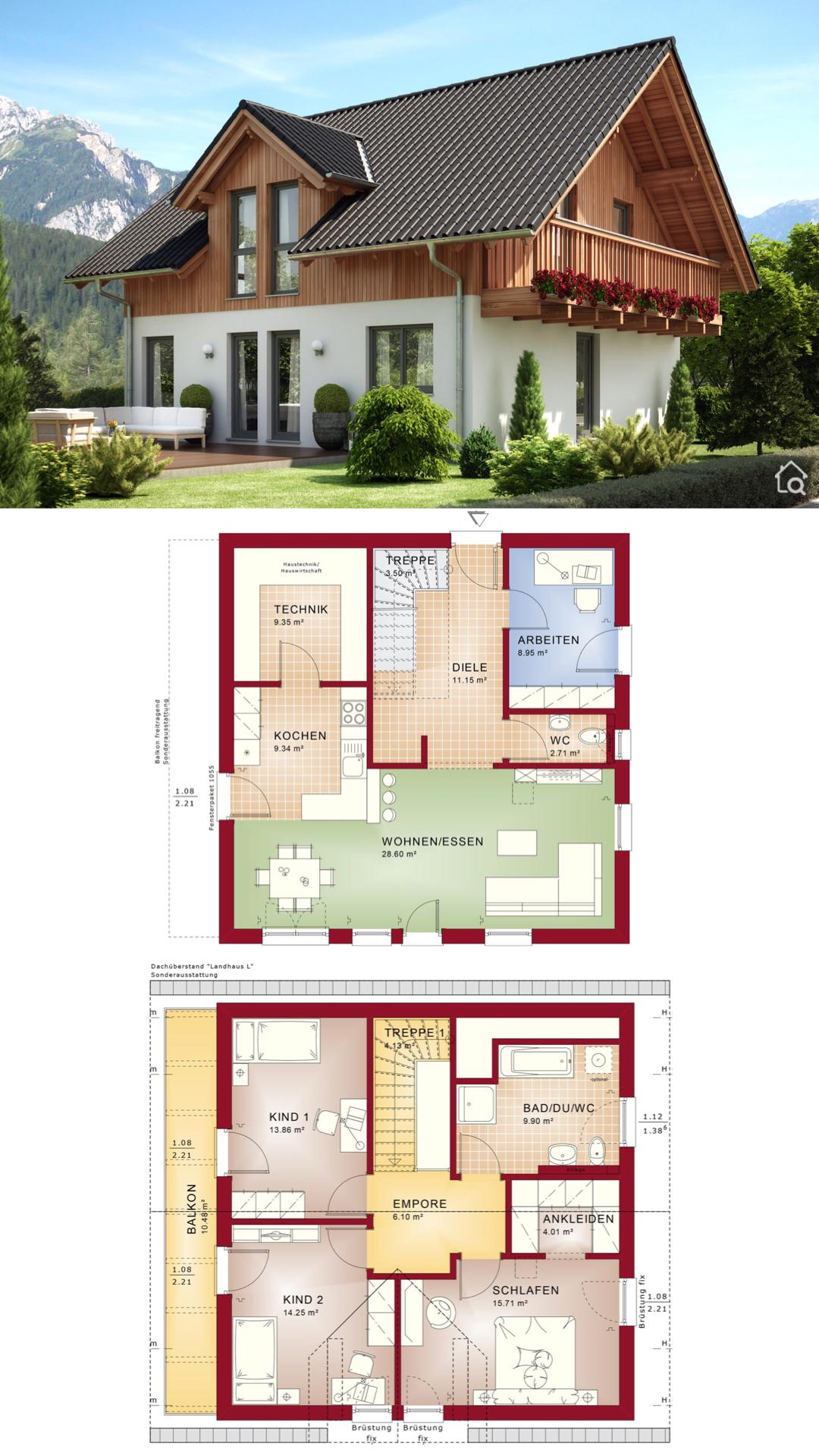 Einfamilienhaus Grundriss 140 qm groß mit Satteldach 3 Kinderzimmer & Balkon im Landhausstil bauen