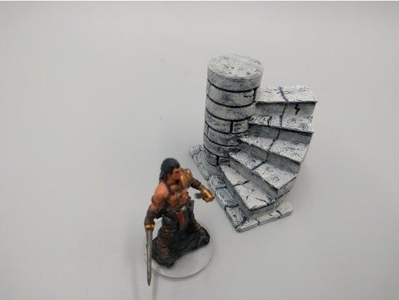 dnd  Crypt Tomb Spiral Stairs- 28mm Tabletop Miniature RPG Warhammer D&D Dungeons and Dragons RPG Terrain Warhammer Terrain
