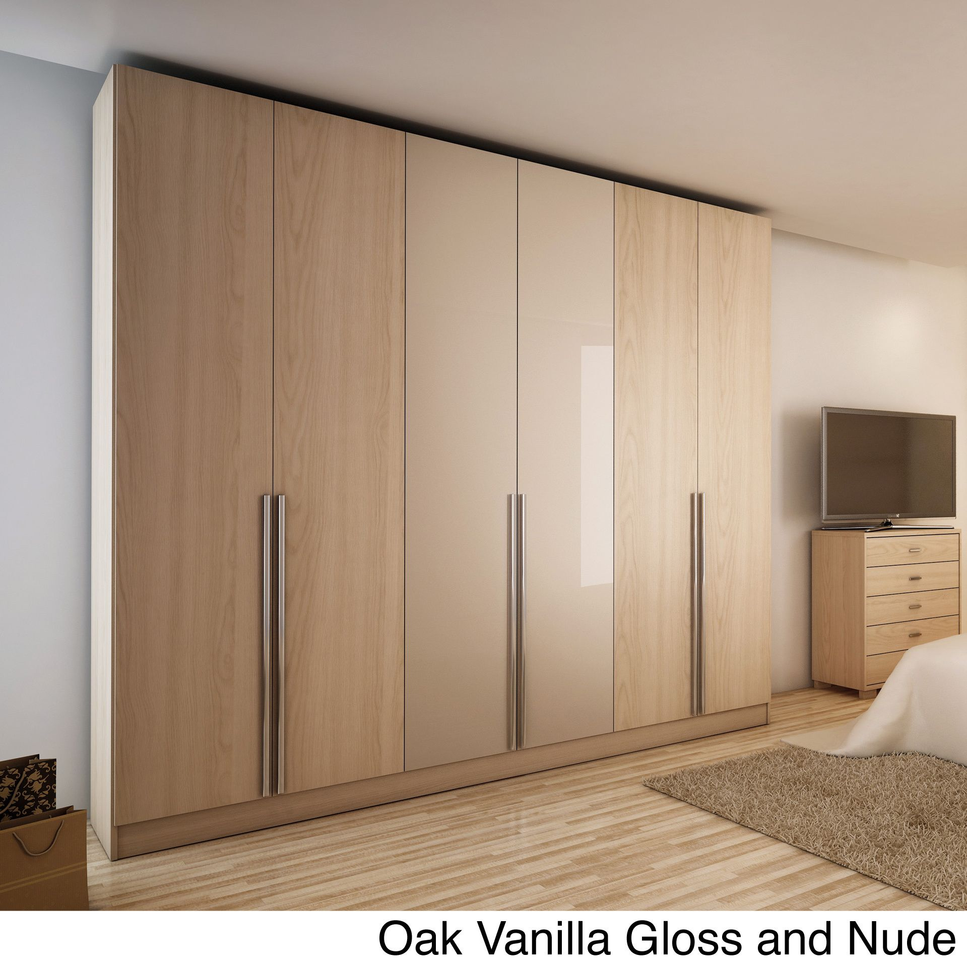 Naked Kitchen Cabinet Doors: Manhattan Comfort 'Downtown' 6-door Wardrobe (Oak Vanilla