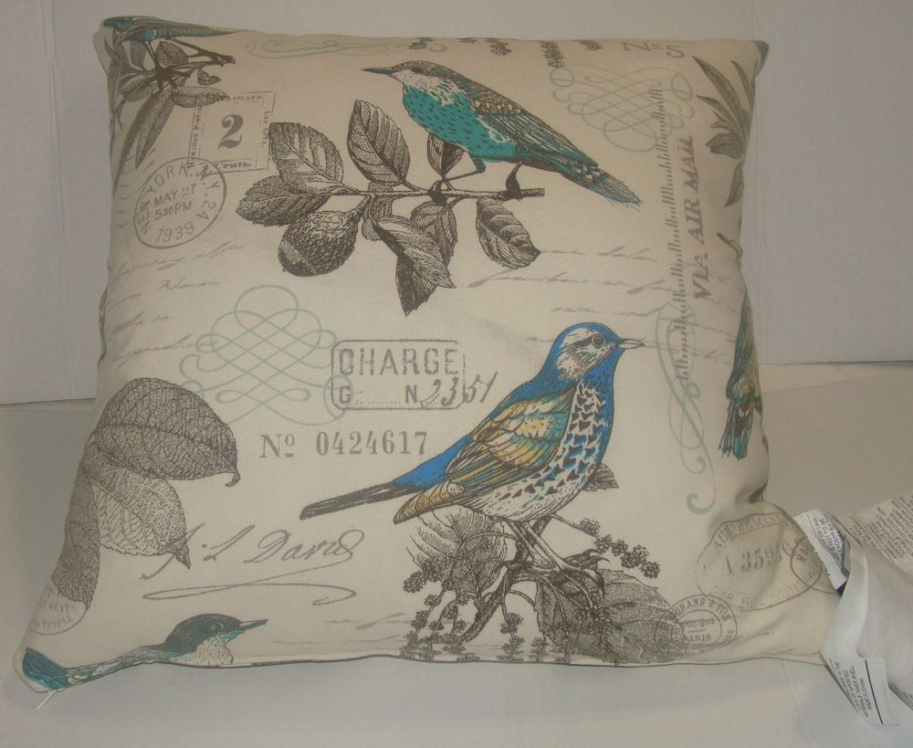 Newport Throw Pillows Birds : NEWPORT Designer Throw Pillow Vintage Style Birds Postage Paris NY Stamp French One of a Kind ...