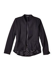 Funnel Neck Shaped Jacket in Tropical Viscose Wool Stretch