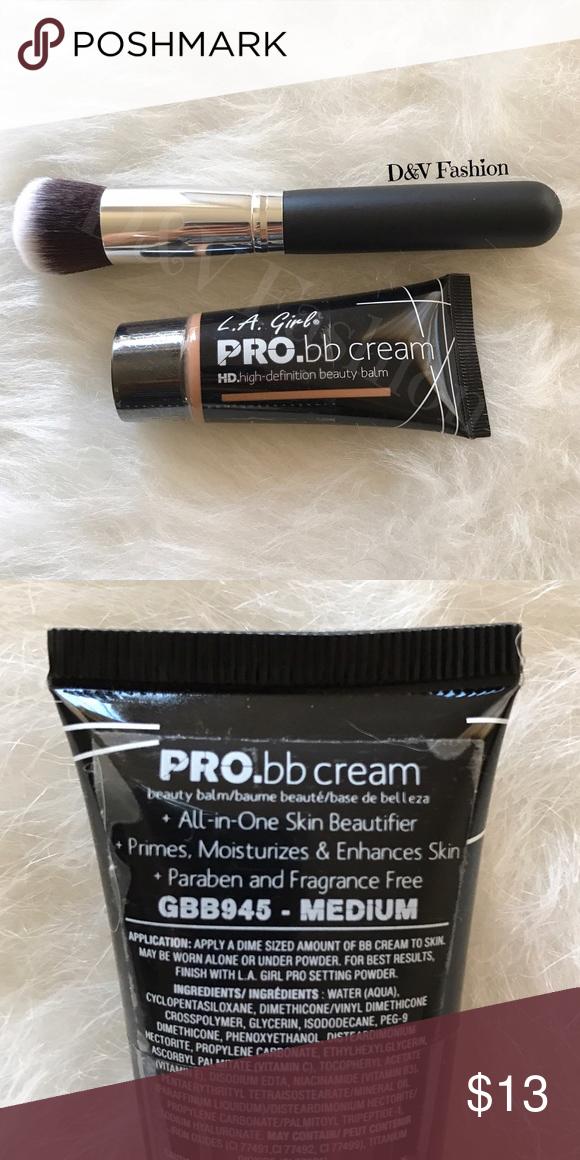 LA Girl Pro BB Cream & Brush New & Sealed product. Medium color. Professional round brush included. Makeup Foundation