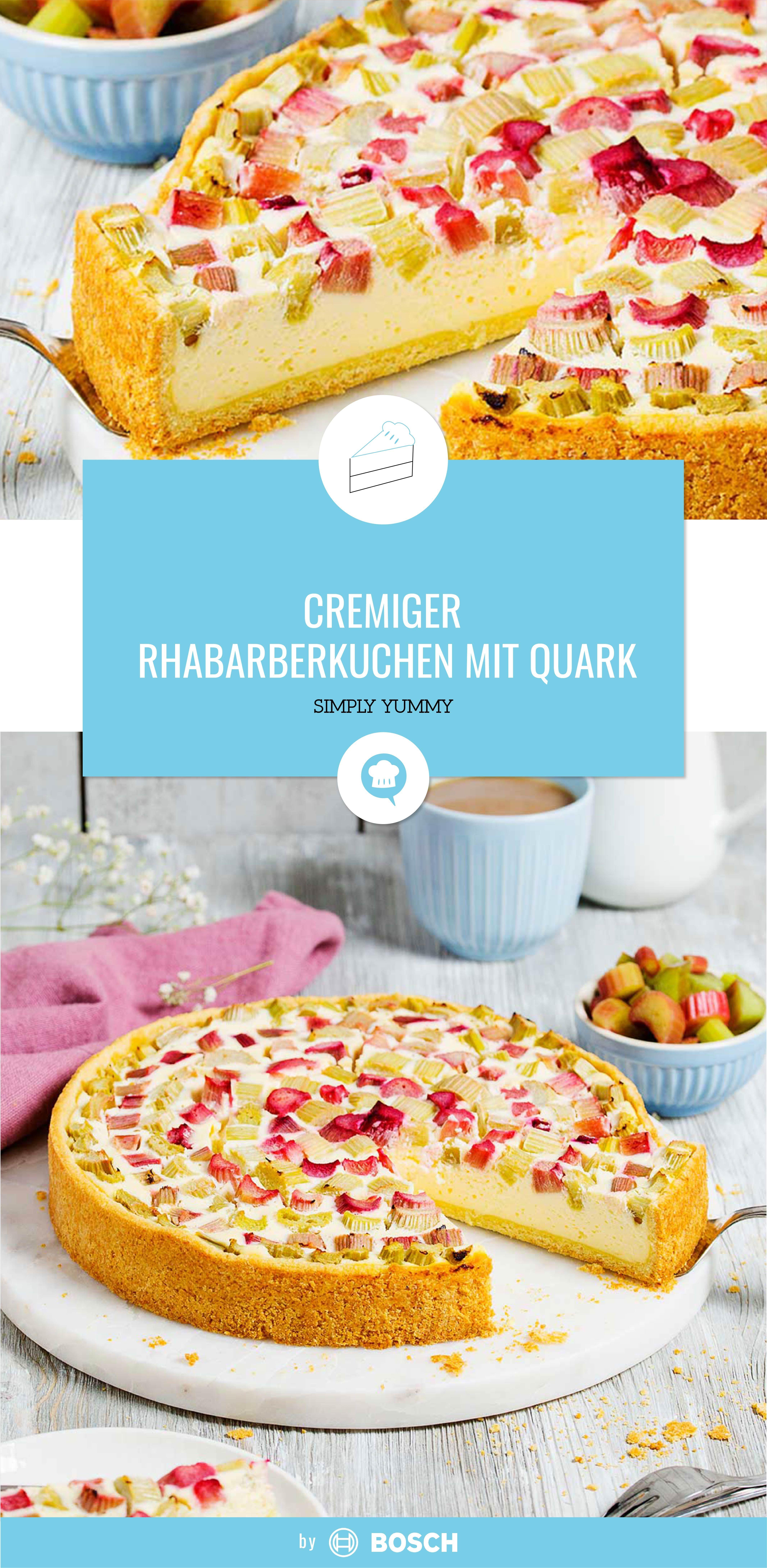 Cremiger Rhabarberkuchen Mit Quark Rezept Rhabarberkuchen Kuchen Und Torten Kuchen Ohne Backen