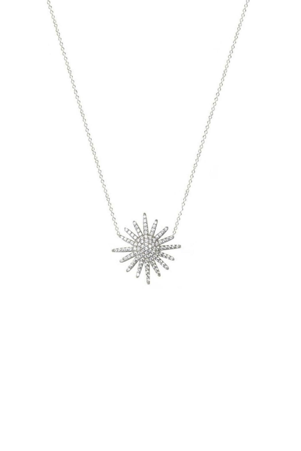 Jaimie nicole silver starburst necklace shoptiques boutique this necklace features a sterling silver starburst pendant with cubic zirconia and a sterling silver chain pendant measures approx 25mm necklace measures aloadofball Image collections