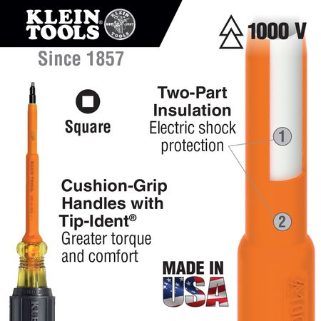 Screwdrivers,  Insulated Screwdriver,  Tip Style Group Specialty,  Screwdriver Tip Style Square,  Tip Size #2,  Handle Material Plastic,  Shank Length 7 in,  Overall Length 11 5/16 in,  Not Tether Capable,  ESD Safe Yes,  Insulated Yes,  Yes,  Handle Design Cushion Grip,  Round Shank Shape,  Shank Material Steel,  Insulated Finish,  Standards ASTM,  IEC